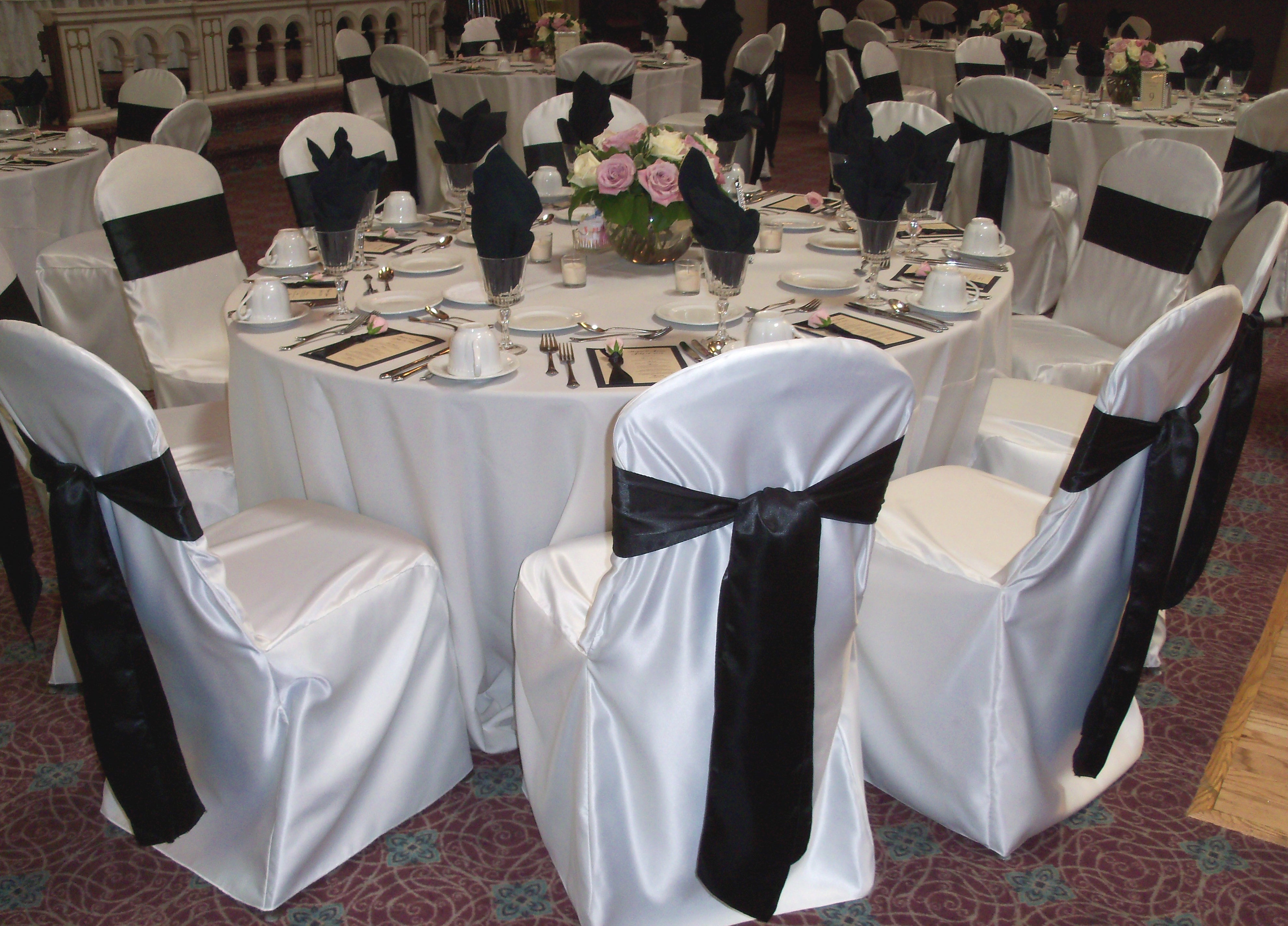 White chair covers with white sash - Black Satin Sashes Chair Covers
